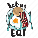 breakfast, food, meal, menu, networking, restaurant, sticker icon