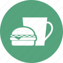 burger, coke, coke and burger, drink, fast food icon