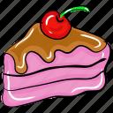 bakery product, cake slice, cherry cake, chocolate cake, dessert, sweet food icon