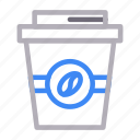 bean, coffee, cup, drink, papercup icon