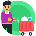 food service, food trolley, waiter, food cloche, restaurant service