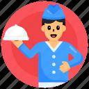 chef, waiter, cloche, food service, restaurant service