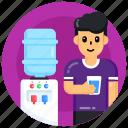 drinking water, water glass, drink, water dispenser, electric appliance