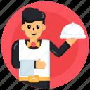 chef, waiter, cloche, food service, restaurant