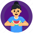 watermelon, tropical fruit, natural food, healthy diet, eating watermelon