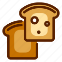 bread, breakfast, crust, food, lunch, meal, toast icon