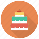 birthday, cake, cherry, christmas, food, pie, valentine icon