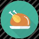 meat, leg, food, restaurant, roast, chicken, fried