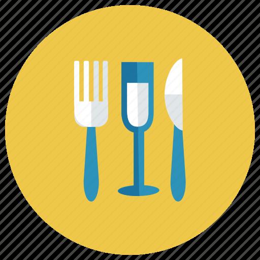 drink, fork, glass, juice, knife, orange, wine icon