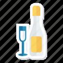 alcohol, bottle, celebrate, drink, glass, romantic, wine icon