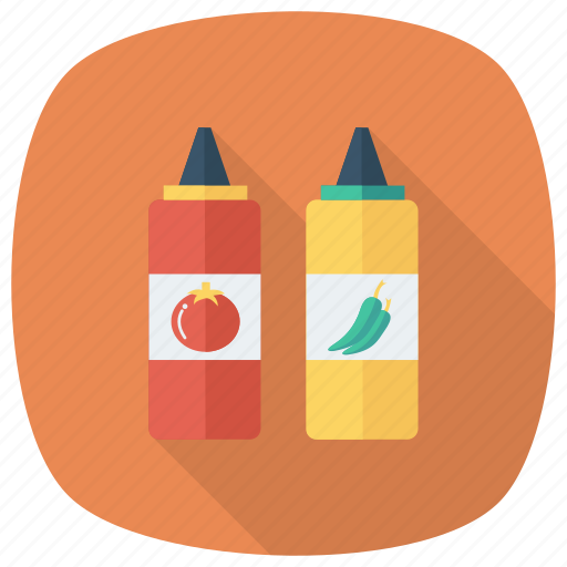 Tomato, taste, bottle, chili, sauce, ketchup, red icon
