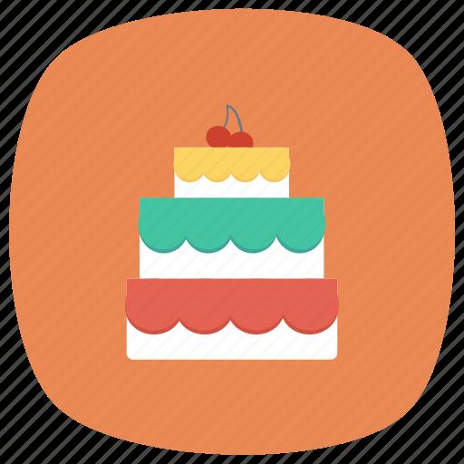 birthday, cake, cherry, christmas, food, pie, valentine icon