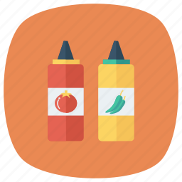 bottle, chili, ketchup, red, sauce, taste, tomato icon