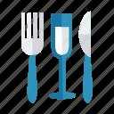 drink, fork, glass, juice, knife, orange, wine