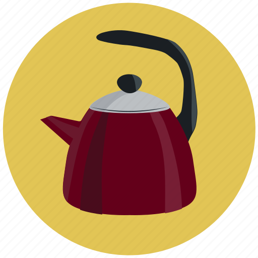 cafe, drink, kitchen, pot, red, tea kettle, teapot icon
