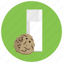cookie, drink, food, glass, kitchen, milk icon