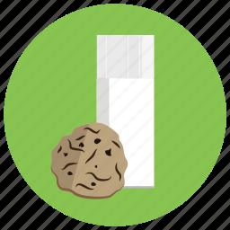 cookie, drink, food, glass, kitchen, milk icon