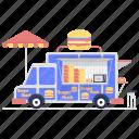 burger shack, burger shop, fast food, food stall, food trailer, hotdog cart, street food icon