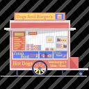 burger shop, carnival food, fast food, food stall, food trailer, hotdog cart, street food icon