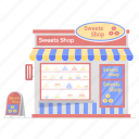 bake shop, bakery, cake shop, food cart, food stall, pastry shop, sweets shop icon