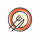 eating, food, fork, kitchen, knief, plate, restaurant, spoon icon