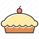 cake, cup, dessert, food, muffin, pastry, red cherry