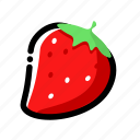 dining, food, raspberry, ripe, strawberry icon