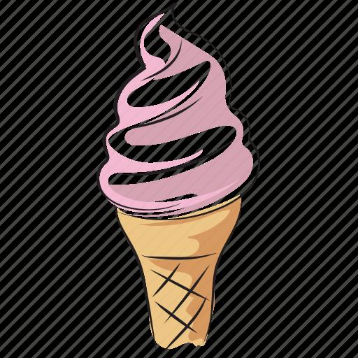 cake cone, cone, cup cone, frozen dessert, ice cream, sweet icon