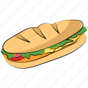 burger, fast food, hamburger, junk food, long burger icon