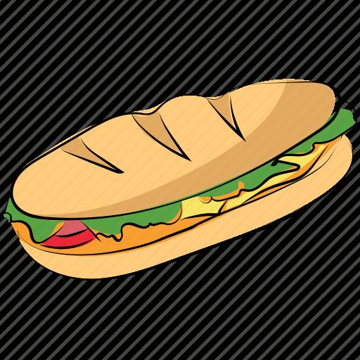 burger, fast food, hamburger, junk food, long burger icon