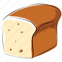bakery food, bead, bread loaf, breakfast, staple food icon