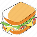 breakfast, fast food, sandwich, snack, toast sandwich icon