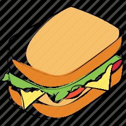 breakfast, fast food, sandwich, snack, toast sandwich icon