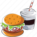 burger, drink, fast food, hamburger, junk food, soft drink icon