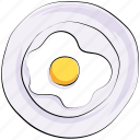 breakfast, egg, fried egg, organic, platter, protein icon