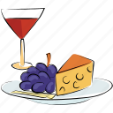 alcohol, cheese, drink, food, fruit, healthy food, wine icon