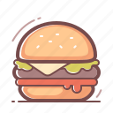 burger, hamburger, icocola