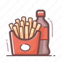 cola, fast food, french fries icon