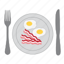 bacon, breakfast, diner, double yolk, eat, eggs, food icon
