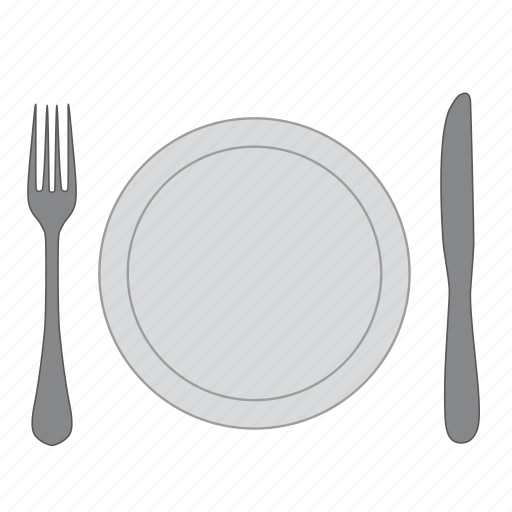 dishes, eat, food, fork, knife, plate, restaurant icon