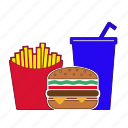 burger, coke, fastfoot, french fries, hamburger, menu, potatoes icon
