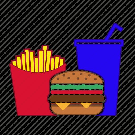 burger, coke, fastfoot, french fries, hamburger, menu, potatoes icon