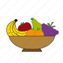 apple, apricot, banana, fruit basket, fruits, grapes, pear icon