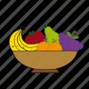 apple, apricot, pear, grapes, fruits, fruit basket, banana