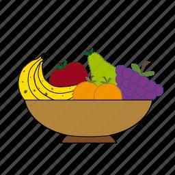 apple, apricot, banana, fruit basket, fruits, grapes, pear icon
