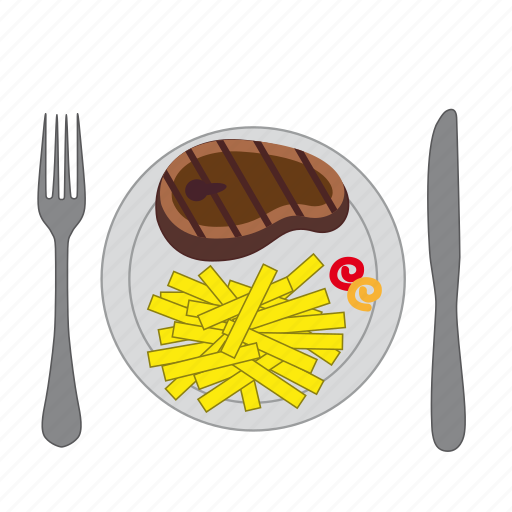 beef, food, french fries, fried steak, meat, potatoes, restaurant icon