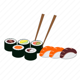 dinner, japan, japanese food, maki, restaurant, salmon, sushi icon