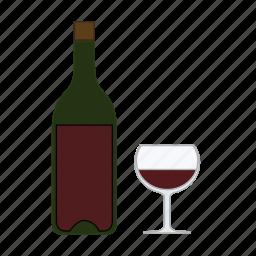alcohol, beverage, bordeaux, bottle, drink, glass, wine icon