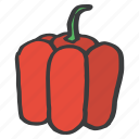 bell, food, fruit, healthy, pepper, red, vegetable icon