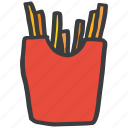 chips, french, fried, fries, potato, snack, wedges icon